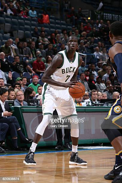 Thon Maker of the Milwaukee Bucks handles the ball during a game against the Indiana Pacers on November 3 2016 at the BMO Harris Bradley Center in...
