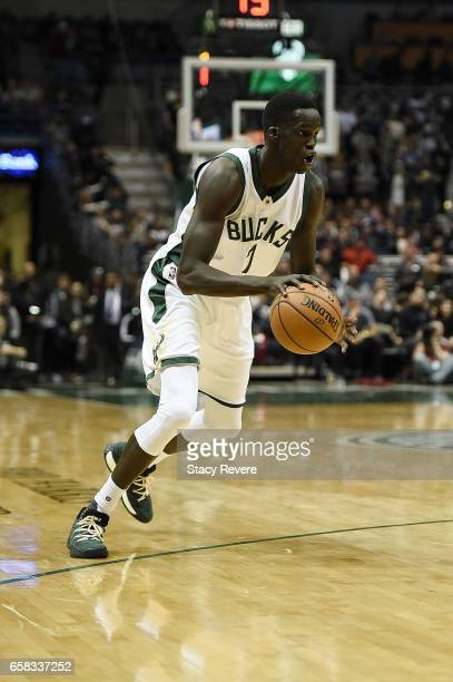 Thon Maker of the Milwaukee Bucks handles the ball during a game against the Chicago Bulls at the BMO Harris Bradley Center on March 26 2017 in...