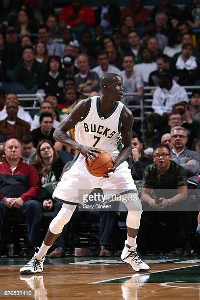 Thon Maker of the Milwaukee Bucks handles the ball during the game against the Cleveland Cavaliers on November 29 2016 at the BMO Harris Bradley...