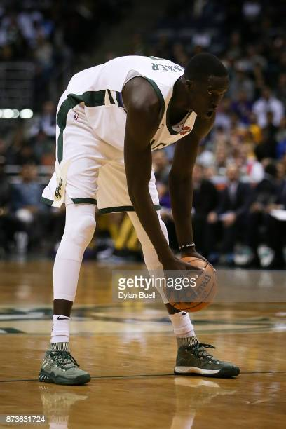 Thon Maker of the Milwaukee Bucks handles the ball in the second quarter against the Los Angeles Lakers at the Bradley Center on November 11 2017 in...