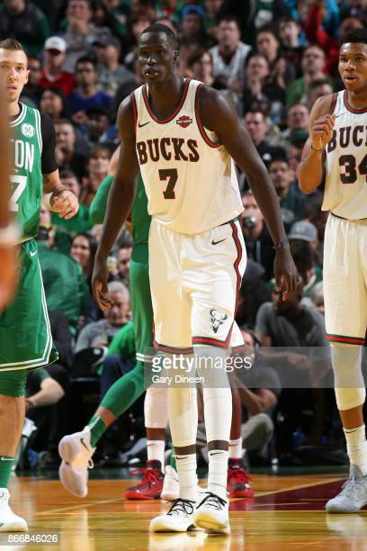 Thon Maker of the Milwaukee Bucks looks on against the Boston Celtics on October 26 2017 at the UWMilwaukee Panther Arena in Milwaukee Wisconsin NOTE...