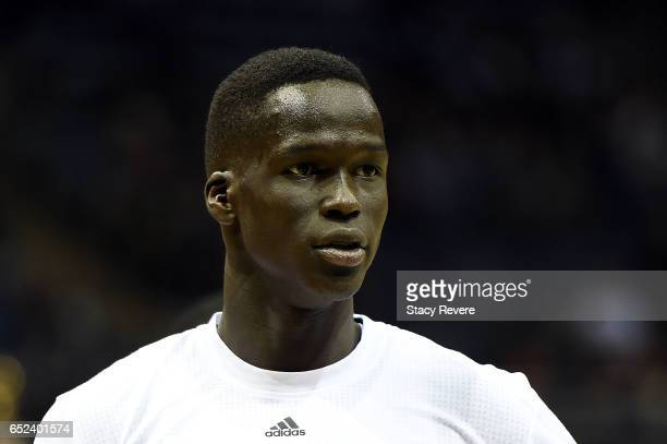 Thon Maker of the Milwaukee Bucks participates in warmups prior to a game prior to a game against the Indiana Pacers at the BMO Harris Bradley Center...