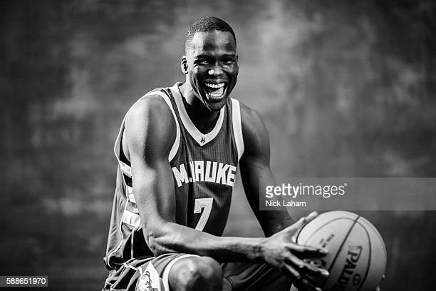Thon Maker of the Milwaukee Bucks poses for a portrait during the 2016 NBA Rookie Photoshoot at Madison Square Garden Training Center on August 7...