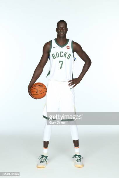 Thon Maker of the Milwaukee Bucks poses for a portrait during the 201718 NBA Media Day on September 25 2017 at the BMO Harris Bradley Center in...