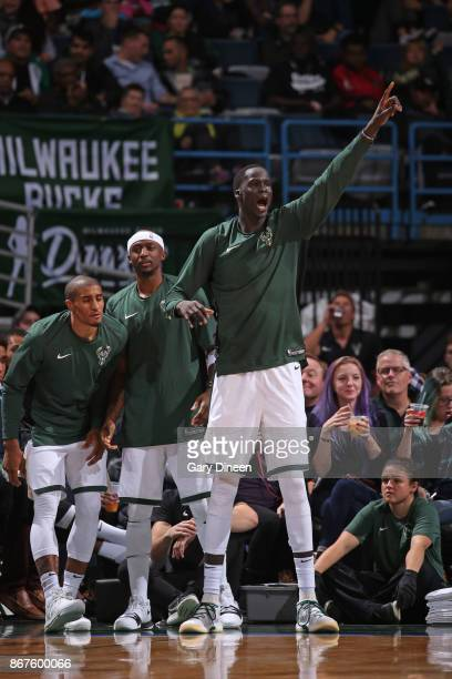 Thon Maker of the Milwaukee Bucks reacts during the game against the Charlotte Hornets on October 23 2017 at the BMO Harris Bradley Center in...