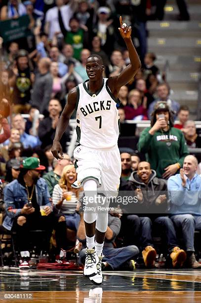 Thon Maker of the Milwaukee Bucks reacts to a score during the second half of a game against the Washington Wizards at the BMO Harris Bradley Center...