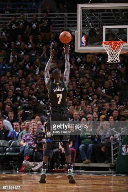 Thon Maker of the Milwaukee Bucks shoots a foul shot against the Toronto Raptors during Game Three of the Eastern Conference Quarterfinals of the...