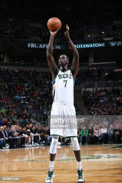 Thon Maker of the Milwaukee Bucks shoots a free throw against the Phoenix Suns on February 26 2017 at the BMO Harris Bradley Center in Milwaukee...