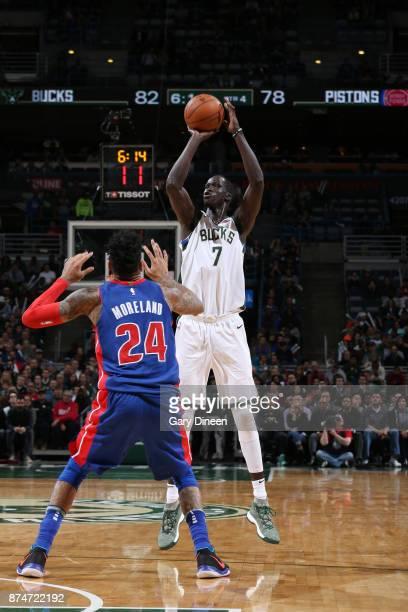 Thon Maker of the Milwaukee Bucks shoots the ball against the Detroit Pistons on November 15 2017 at the BMO Harris Bradley Center in Milwaukee...