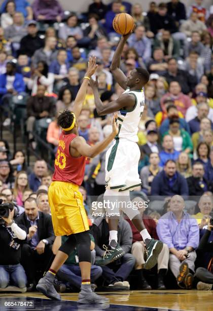 Thon Maker of the Milwaukee Bucks shoots the ball against the Indiana Pacers at Bankers Life Fieldhouse on April 6 2017 in Indianapolis Indiana NOTE...