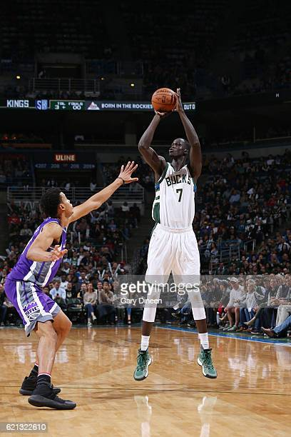 Thon Maker of the Milwaukee Bucks shoots the ball against the Sacramento Kings on November 5 2016 at the BMO Harris Bradley Center in Milwaukee...