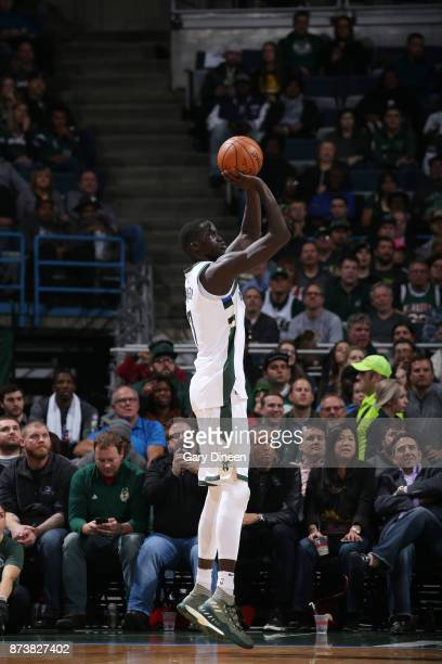Thon Maker of the Milwaukee Bucks shoots the ball against the Memphis Grizzlies on November 13 2017 at the BMO Harris Bradley Center in Milwaukee...