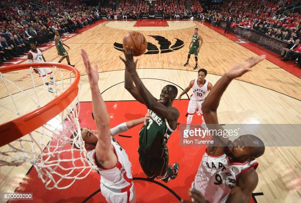 Thon Maker of the Milwaukee Bucks shoots the ball against the Toronto Raptors during Game Two of the Eastern Conference Quarterfinals of the 2017 NBA...