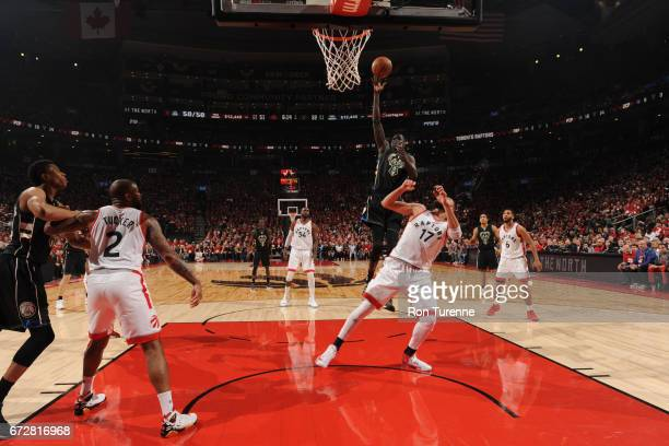 Thon Maker of the Milwaukee Bucks shoots the ball against the Toronto Raptors in Game Five of the Eastern Conference Quarterfinals during the 2017...