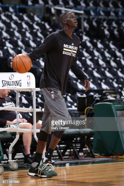 Thon Maker of the Milwaukee Bucks warms up before Game Three of the Eastern Conference Quarterfinals against the Toronto Raptors of the 2017 NBA...