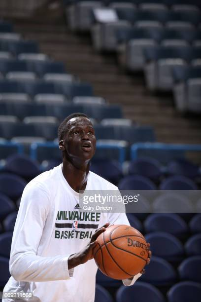 Thon Maker of the Milwaukee Bucks warms up before the game against the Dallas Mavericks warms up before the game against the Dallas Mavericks on...
