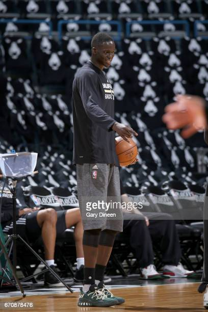 Thon Maker of the Milwaukee Bucks warms up before the game against the Toronto Raptors during Game Three of the Eastern Conference Quarterfinals of...