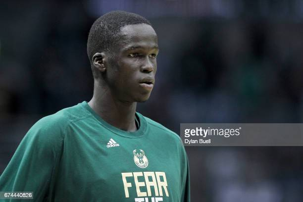 Thon Maker of the Milwaukee Bucks warms up before the Game Six of the Eastern Conference Quarterfinals against the Toronto Raptors during the 2017...