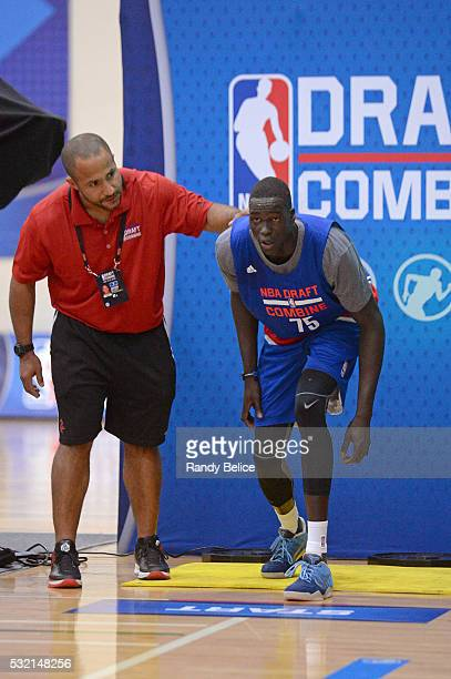 Thon Maker prepares to complete a 3/4 Court Sprint test during the 2016 NBA Draft Combine on May 13 2016 at the Quest Multisport in Chicago Illinois...