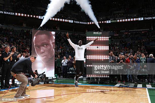 Thon Maker the Milwaukee Bucks is introduced against the Charlotte Hornets on October 26 2016 at the BMO Harris Bradley Center in Milwaukee Wisconsin...