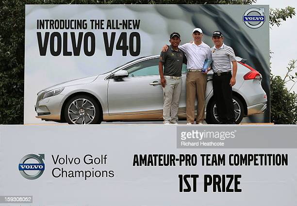 Thongchai Jaidee of Thailand Amateur Colin Ledworth of England and Louis Oosthuizen of South Africa pose with their prize for winning the AmateurPro...
