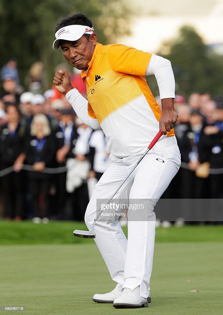 Thongchai Jaidee of Thailand celebrates victory in the final round of the Porsche European Open at Golf Resort Bad Griesbach on September 27 2015 in...
