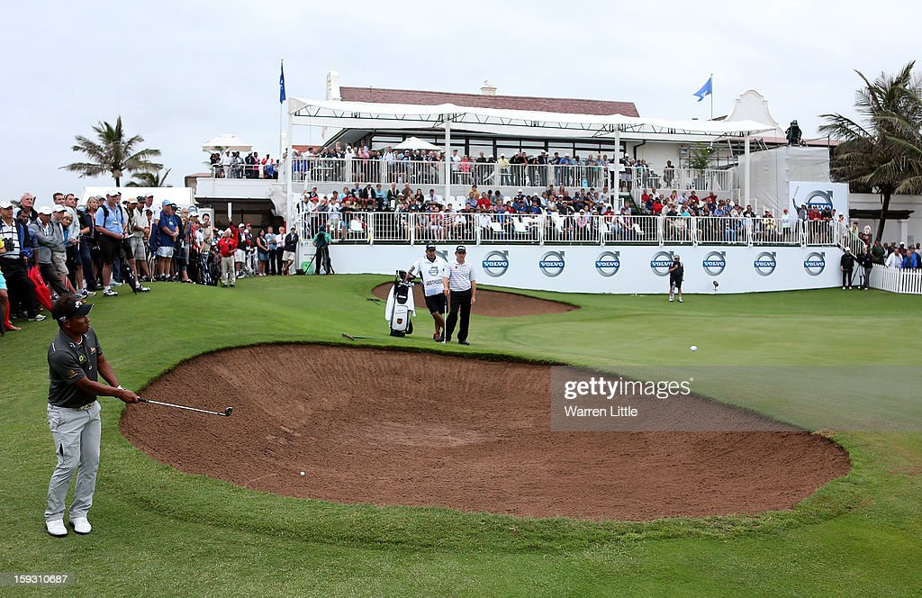 Thongchai Jaidee of Thailand chips onto the 18th green during the second round of the Volvo Golf Champions at Durban Country Club on January 11, 2013 in Durban, South Africa.