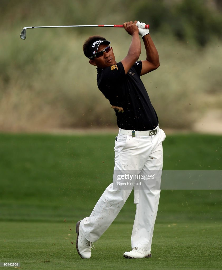 <a gi-track='captionPersonalityLinkClicked' href=/galleries/search?phrase=Thongchai+Jaidee&family=editorial&specificpeople=200733 ng-click='$event.stopPropagation()'>Thongchai Jaidee</a> of Thailand during the second round the Omega Dubai Desert Classic on the Majlis Course at the Emirates Golf Club on February 5, 2010 in Dubai, United Arab Emirates.