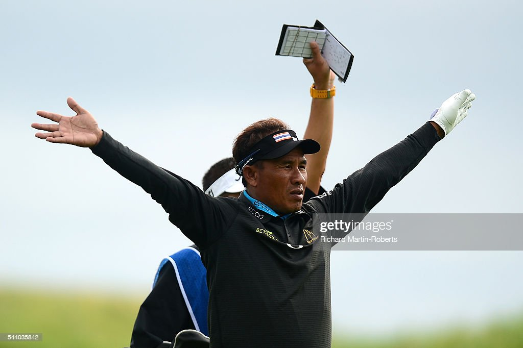 <a gi-track='captionPersonalityLinkClicked' href=/galleries/search?phrase=Thongchai+Jaidee&family=editorial&specificpeople=200733 ng-click='$event.stopPropagation()'>Thongchai Jaidee</a> of Thailand gestures to a referee on the 13th hole during the second round of the 100th Open de France at Le Golf National on July 1, 2016 in Paris, France.