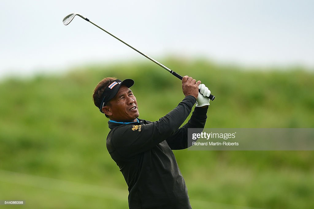 Thongchai Jaidee of Thailand hits an approach during the second round of the 100th Open de France at Le Golf National on July 1, 2016 in Paris, France.