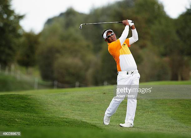 Thongchai Jaidee of Thailand hits off the fairway on hole 16 during the final round of the Porsche European Open at Golf Resort Bad Griesbach on...