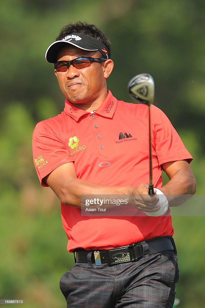 Thongchai Jaidee of Thailand in action during day 4 of the Avantha Masters at Jaypee Greens Golf Course on March 17, 2013 in Noida, India.