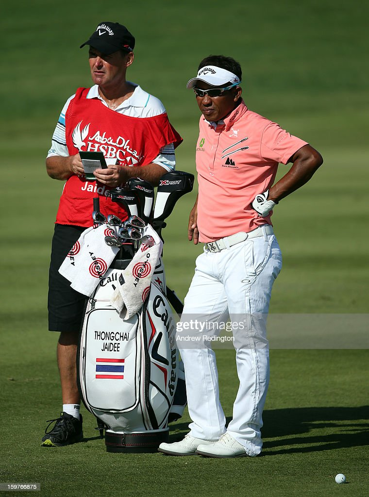 Thongchai Jaidee of Thailand in action during the final round of The Abu Dhabi HSBC Golf Championship at Abu Dhabi Golf Club on January 20, 2013 in Abu Dhabi, United Arab Emirates.