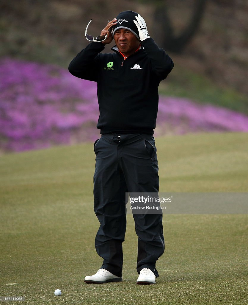Thongchai Jaidee of Thailand in action during the first round of the Ballantine's Championship at Blackstone Golf Club on April 25, 2013 in Icheon, South Korea.