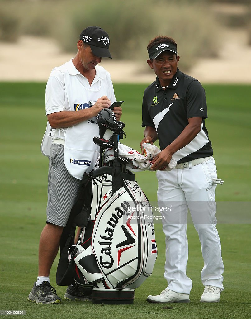Thongchai Jaidee of Thailand in action during the second round of the Omega Dubai Desert Classic at Emirates Golf Club on February 1, 2013 in Dubai, United Arab Emirates.