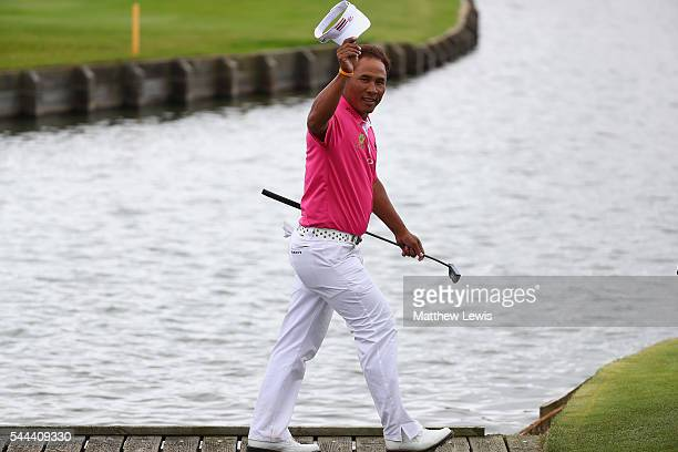 Thongchai Jaidee of Thailand looks on as he walks onto the 18th green during day four of the 100th Open de France at Le Golf National on July 3 2016...