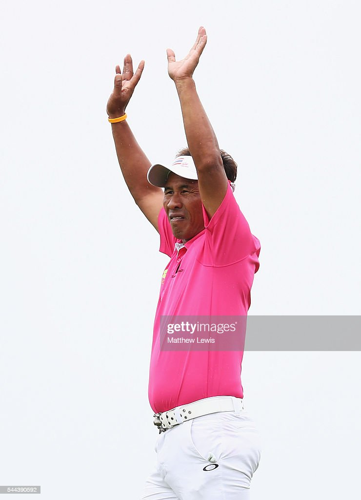 Thongchai Jaidee of Thailand looks on during day four of the 100th Open de France at Le Golf National on July 3 2016 in Paris France