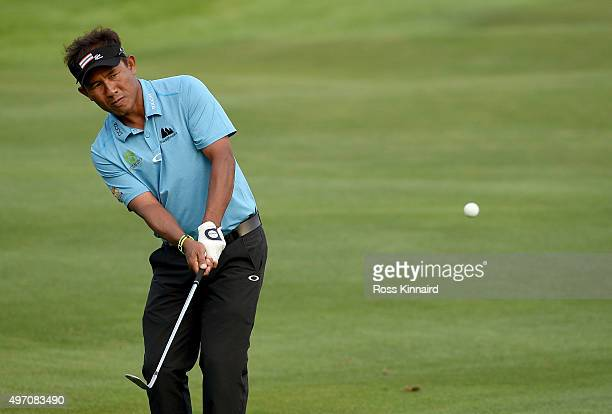 Thongchai Jaidee of Thailand on the 18th hole during the third round of the BMW Masters at Lake Malaren Golf Club on November 14 2015 in Shanghai...