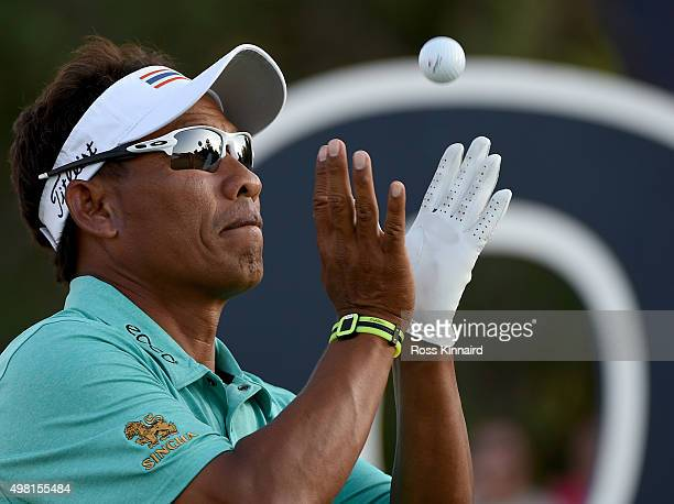 Thongchai Jaidee of Thailand on the 18th tee during the third round of the DP World Tour Championship on the Earth Course at Jumeirah Golf Estates on...