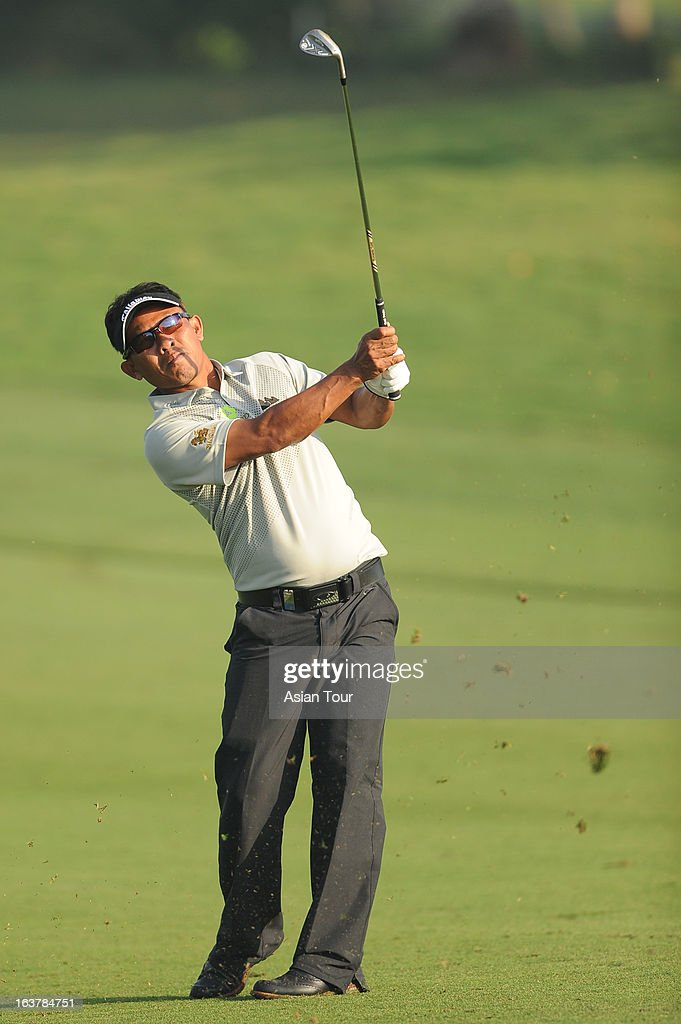Thongchai Jaidee of Thailand plays a shot during day 3 of the Avantha Masters at Jaypee Greens Golf Course on March 16, 2013 in Noida, India.