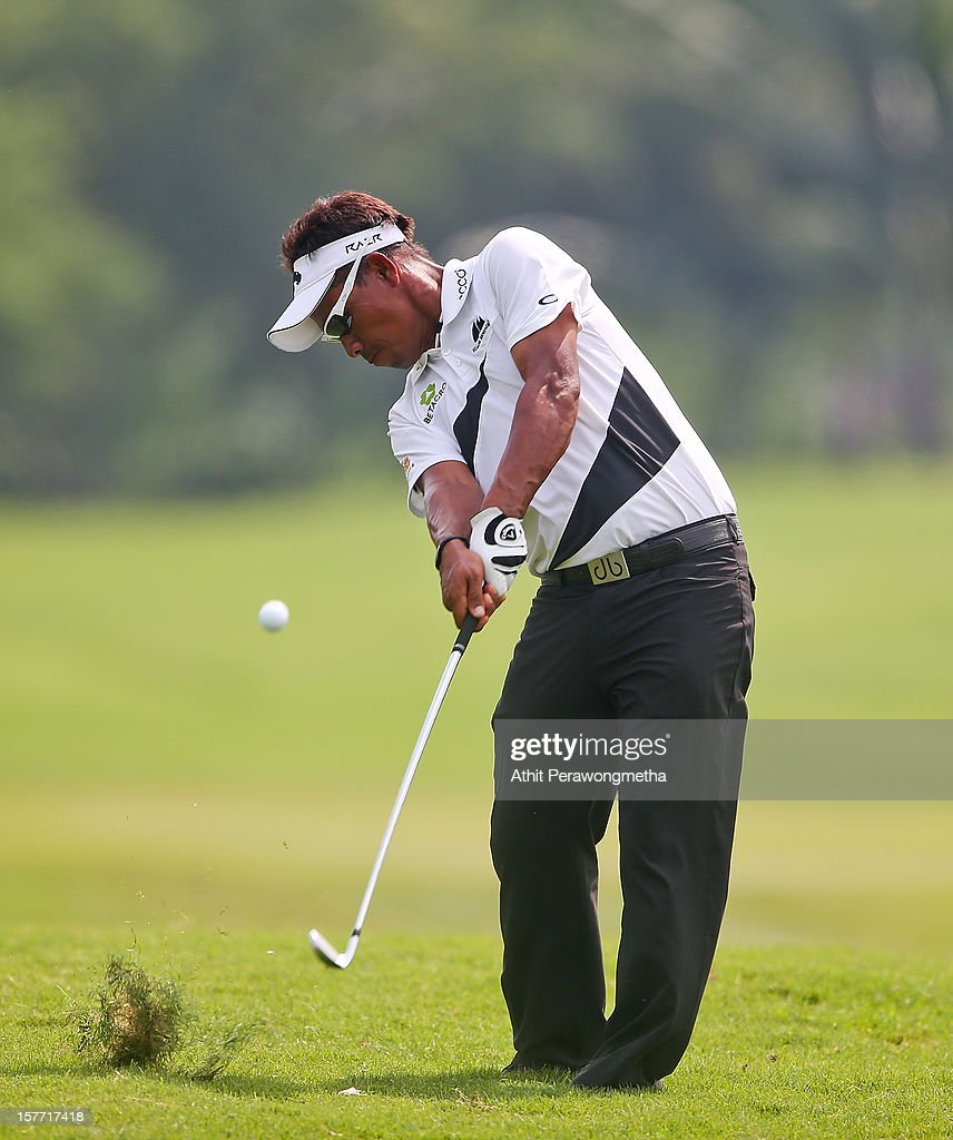 <a gi-track='captionPersonalityLinkClicked' href=/galleries/search?phrase=Thongchai+Jaidee&family=editorial&specificpeople=200733 ng-click='$event.stopPropagation()'>Thongchai Jaidee</a> of Thailand plays a shot during round one of the Thailand Golf Championship at Amata Spring Country Club on December 6, 2012 in Bangkok, Thailand.