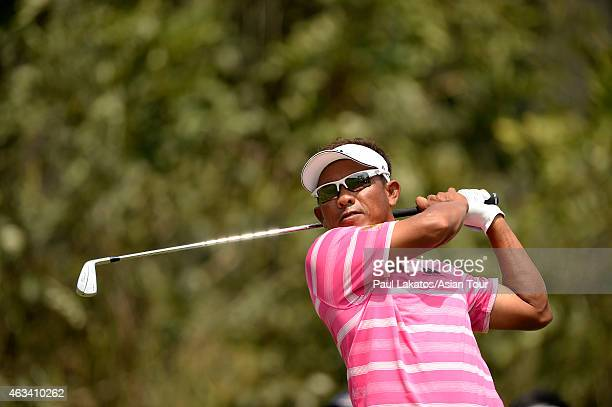 Thongchai Jaidee of Thailand plays a shot during round three of the Thailand Classic at Black Mountain Golf Club on February 14 2015 in Hua Hin...