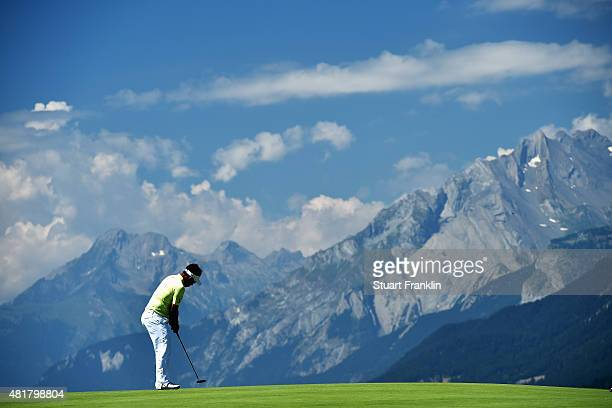 Thongchai Jaidee of Thailand plays a shot during the second round of the Omega European Masters at CranssurSierre Golf Club on July 24 2015 in...