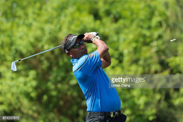 Thongchai Jaidee of Thailand plays a shot during the second round of the 2017 Volvo China open at Topwin Golf and Country Club on April 28 2017 in...