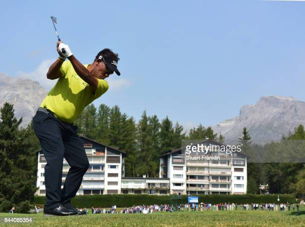 Thongchai Jaidee of Thailand plays a shot during the second round of the Omega European Masters at CranssurSierre Golf Club on September 8 2017 in...