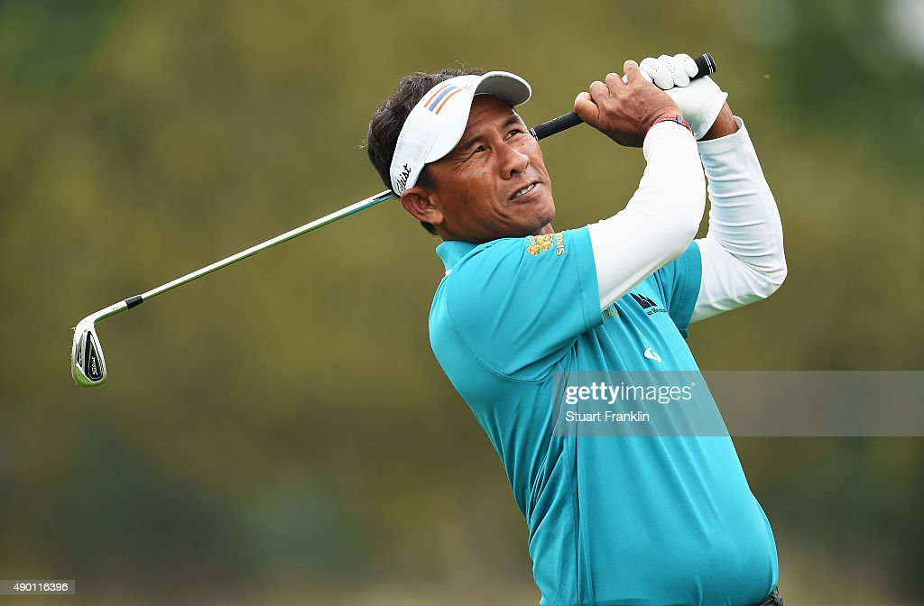 Thongchai Jaidee of Thailand plays a shot during the third round of the Porsche European Open at Golf Resort Bad Griesbach on September 26 2015 in...