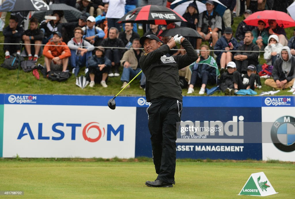 Thongchai Jaidee of Thailand plays his first shot on the 1st fairway during the Alstom Open de France - Day Four at Le Golf National on July 6, 2014 in Paris, France.