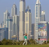 Thongchai Jaidee of Thailand plays his third shot during the first round of the 2016 Dubai Desert Classic at the Emirates Golf Club on February 4...