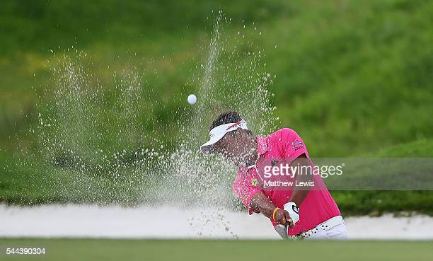 Thongchai Jaidee of Thailand plays out of a bunker on the 14th hole during day four of the 100th Open de France at Le Golf National on July 3 2016 in...