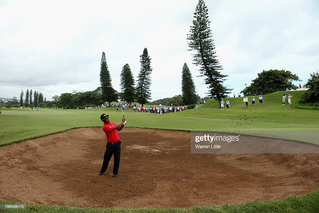 Thongchai Jaidee of Thailand plays out of the 11th greenside bunker during the final round of the Volvo Golf Champions at Durban Country Club on January 13, 2013 in Durban, South Africa.